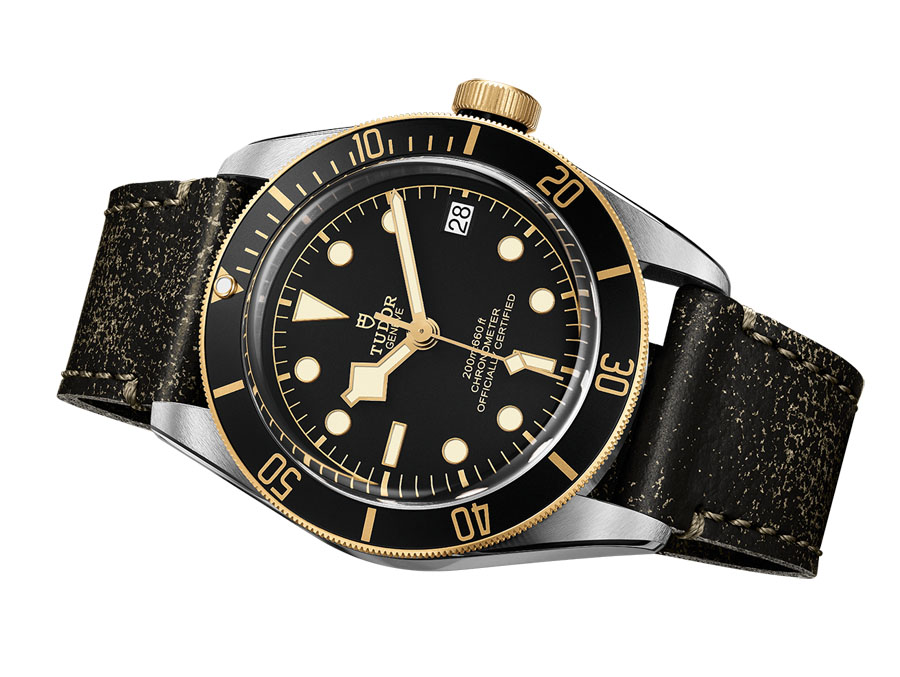 Tudor: Heritage Black Bay S&G mit Lederarmband in Vintage-Optik